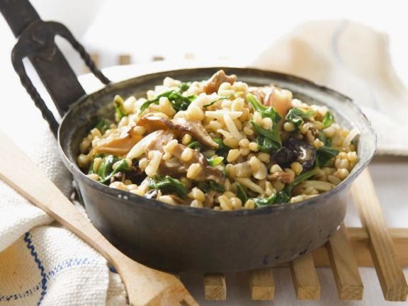 Wheat Berries, Spinach and Mushrooms