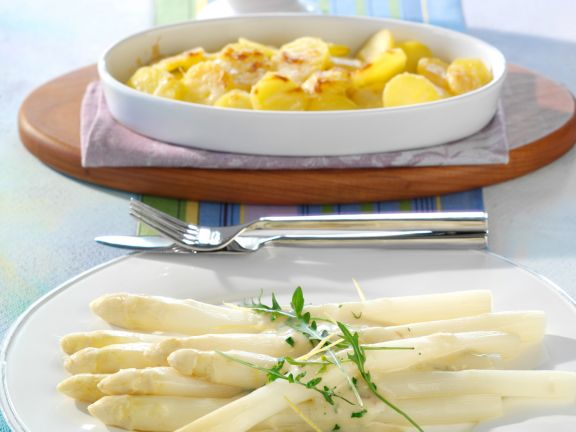 White Asparagus with Lemon and Anchovy Sauce and Parmesan Potatoes