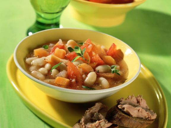 White Bean Soup with Sausage Crostini
