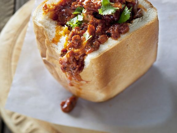 White Bread Filled with South African Curry