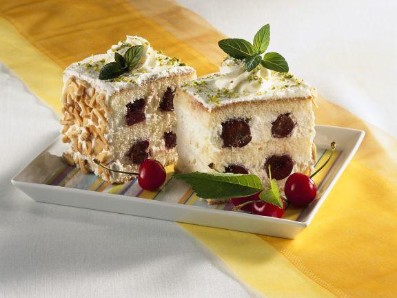 White Cake with Cream and Cherries