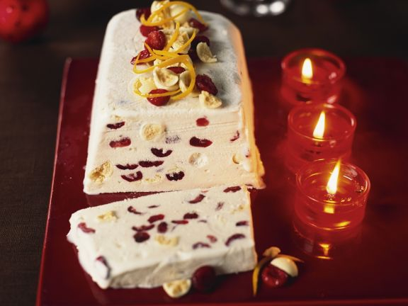 White Chocolate Parfait with Cranberries and Orange