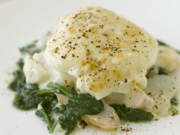 White Fish with Spinach and Egg