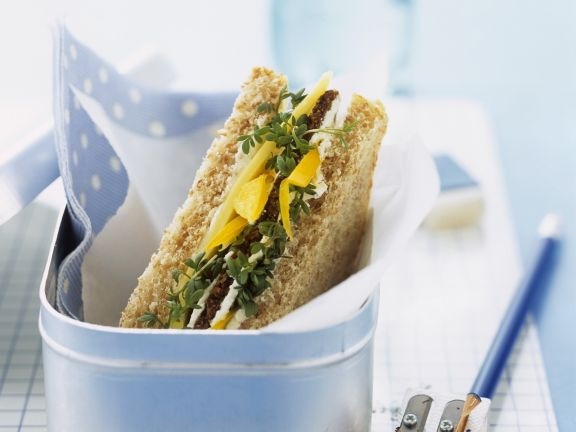 Whole-grain Cheese and Bell Pepper Sandwiches
