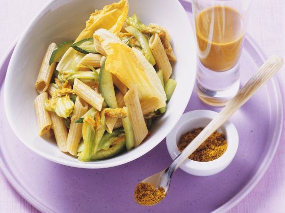 Whole Wheat Pasta with Curry, Zucchini Blossoms and Seaberry Juice
