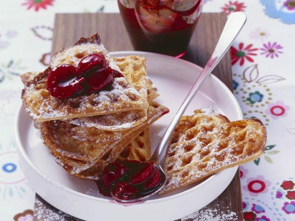 Whole Wheat Waffles with Cherry Compote and Dark Chocolate Sauce