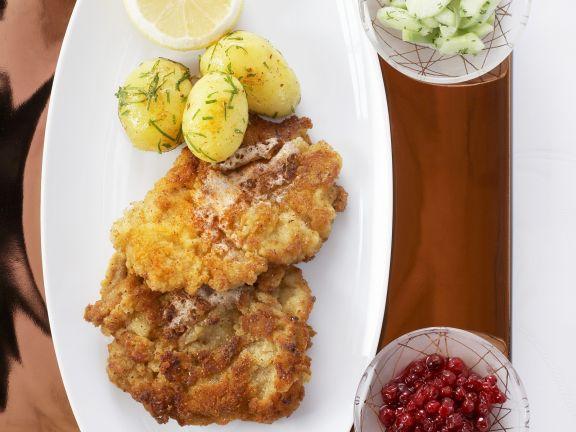 Wiener Schnitzel with Parsley Potatoes and Cucumber Salad