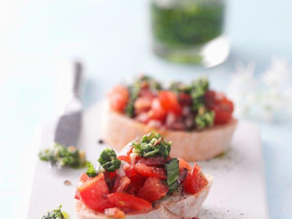 Wild Garlic Pesto and Tomato Bruschetta