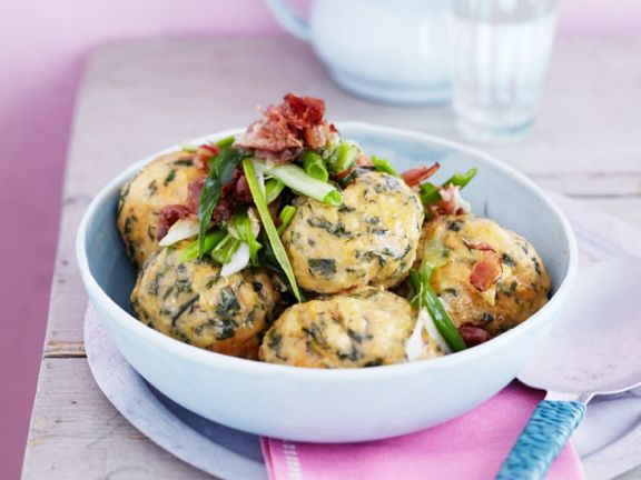 Wild Herb Dumplings with Bacon and Onions