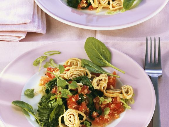Wilted Spinach with Tomato Sauce and Crepe Strips