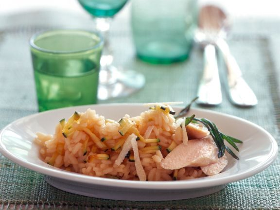 Zucchini Risotto with Rabbit Fillet