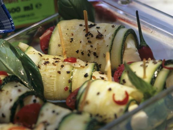 Zucchini Rolls with Tomato and Mozzarella