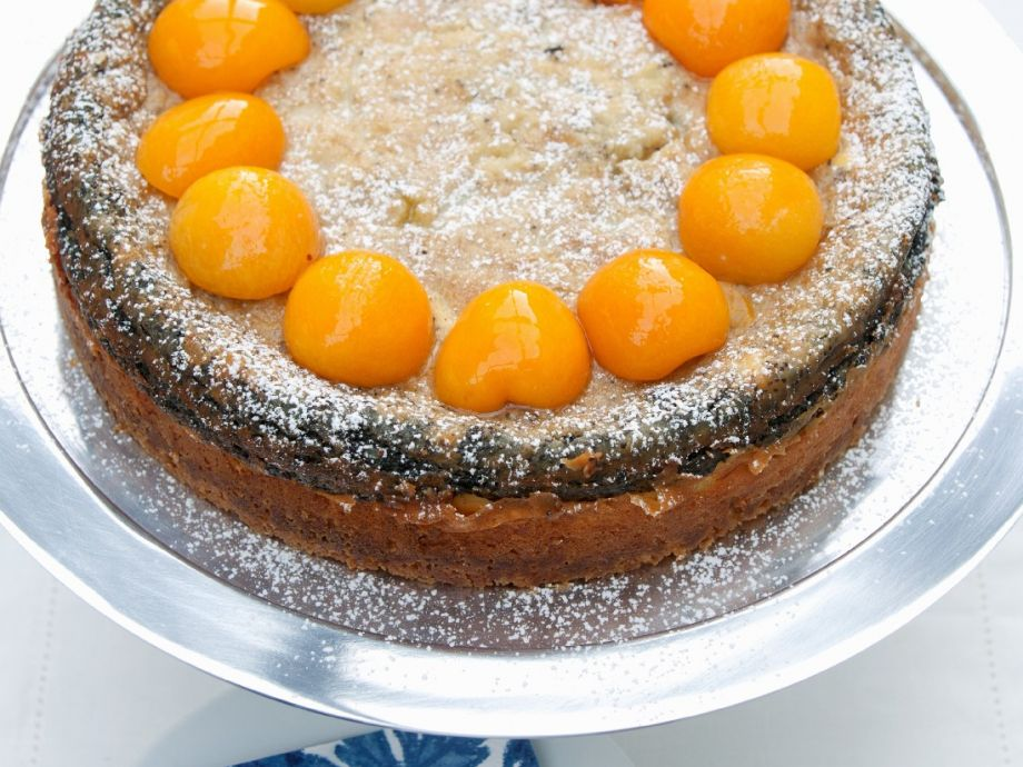 Apricot poppy seed layer cake