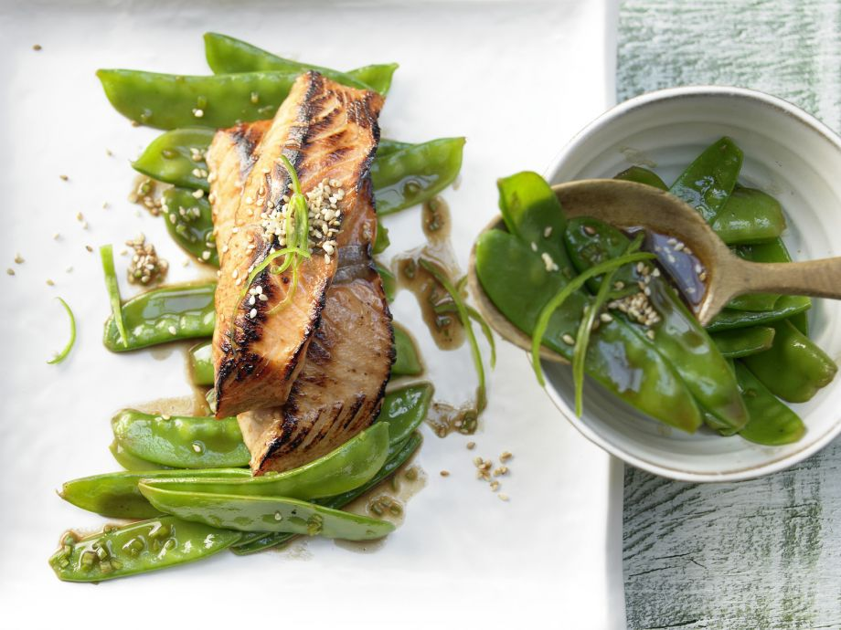 Soy Salmon - Soy Salmon - Crisp vegetables pair well with marinated fish fresh from the oven