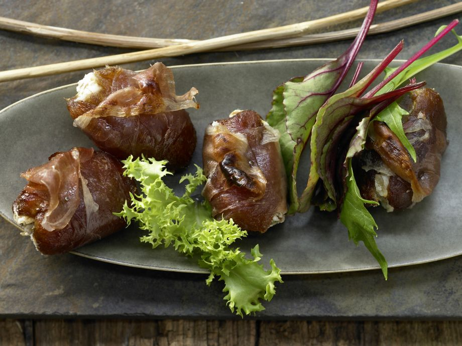 Bacon-Wrapped Dates - Bacon-Wrapped Dates - Sweet and spicy combination of Middle Eastern and European flavors