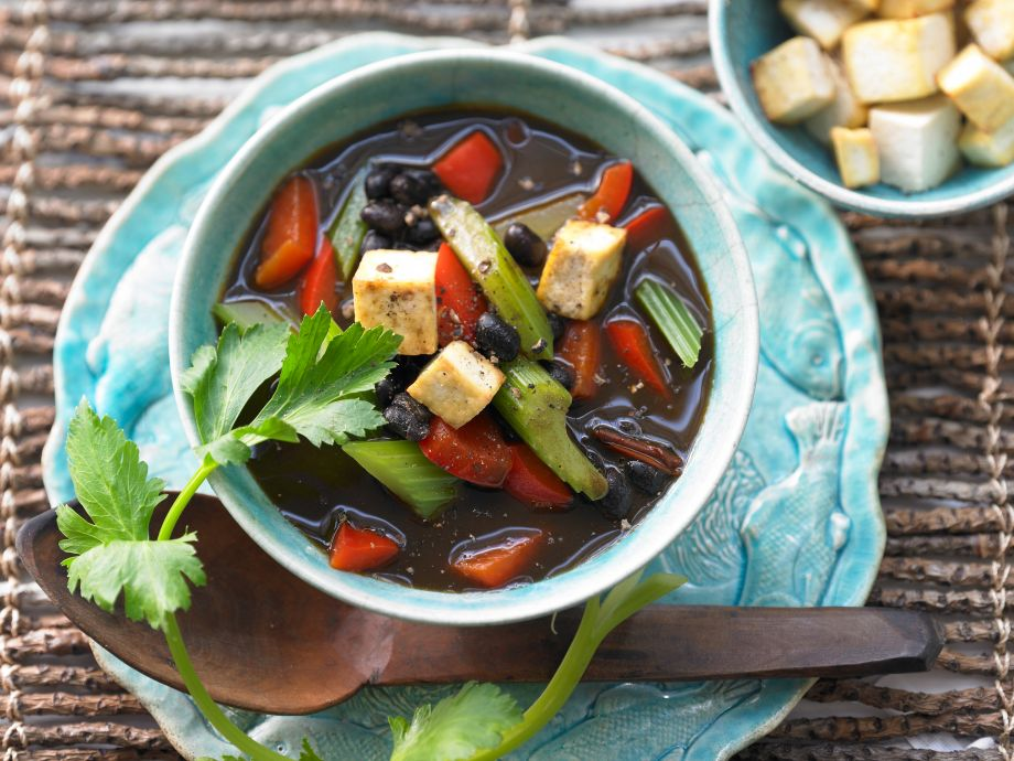 Black Bean Soup - Black Bean Soup - A vegetarian spin on an irresistible Caribbean classic