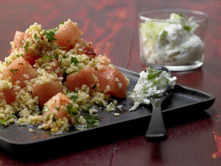 Bulgur Melon Salad - Bulgur Melon Salad - Asian inspired and visually appealing