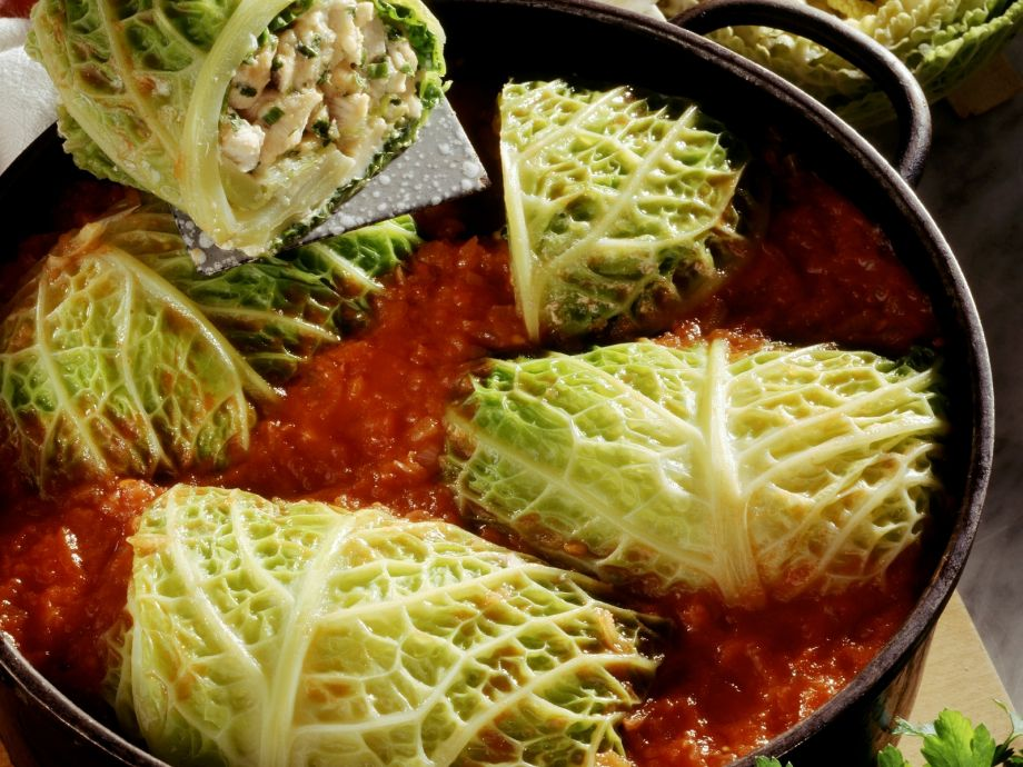 Cabbage wraps with turkey filling