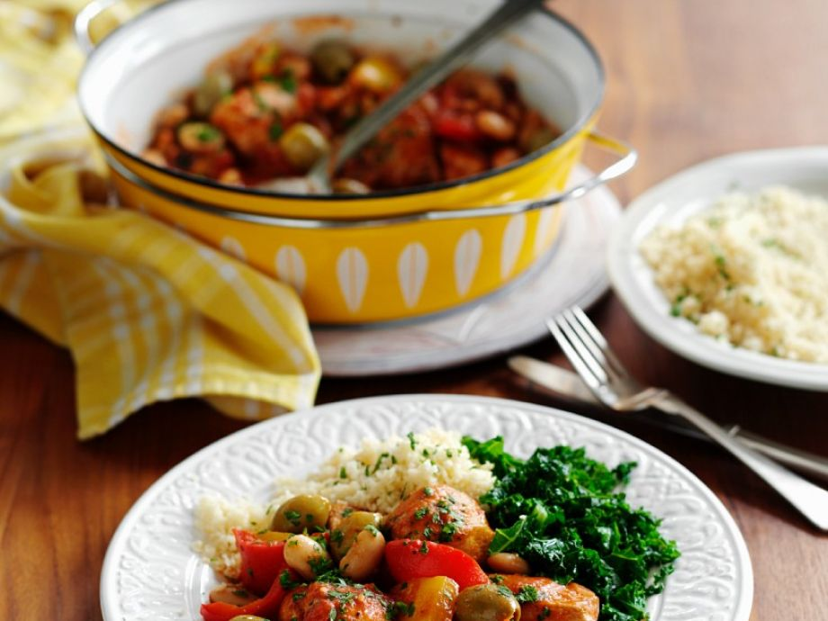Chicken and bean stew with couscous