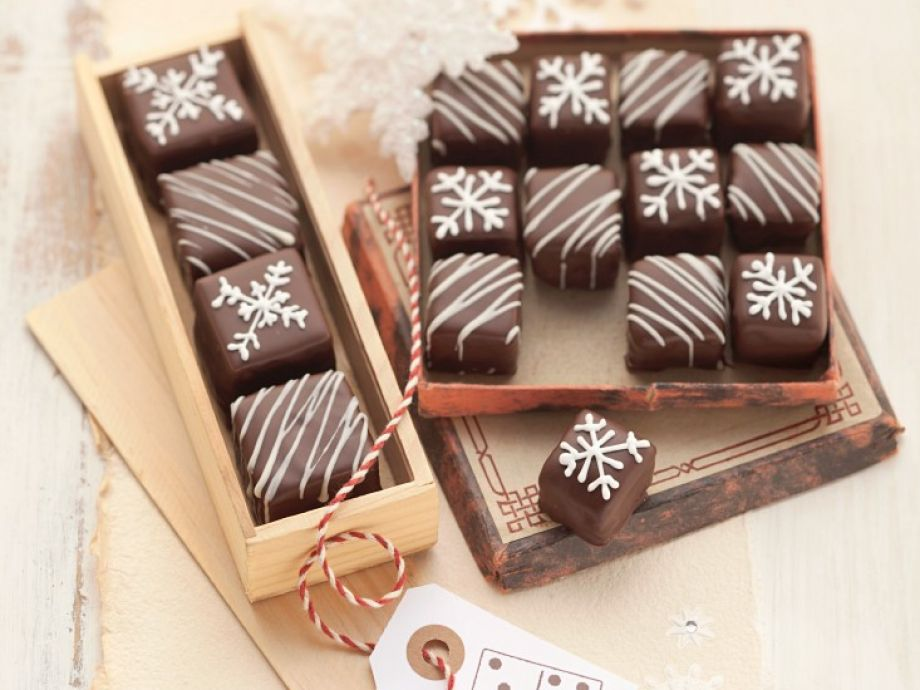Chocolate Gingerbread Cake Petit Fours with Marzipan and Red Currant Jelly