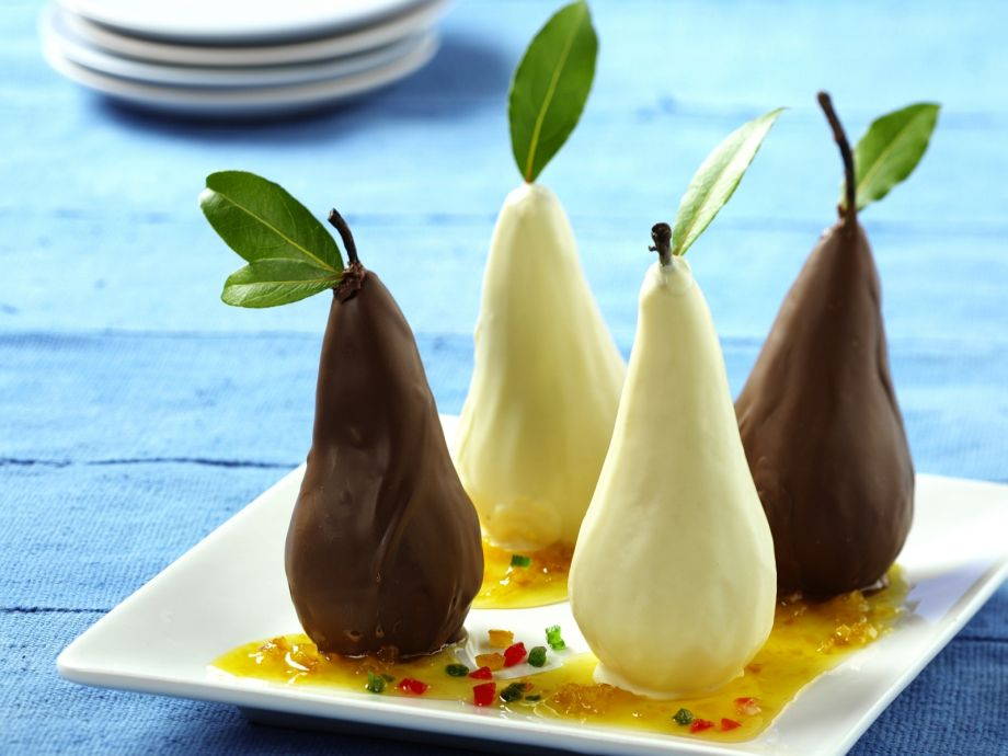 Chocolate pears with wine syrup