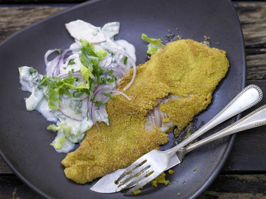 Cornmeal-Crusted Trout Fillets - Cornmeal-Crusted Trout Fillets - Breaded fish can be delicate and refined