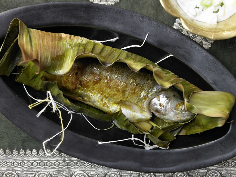 Curried Trout in Banana Leaves - Curried Trout in Banana Leaves - Indian-style fish dish prepared the authentic way