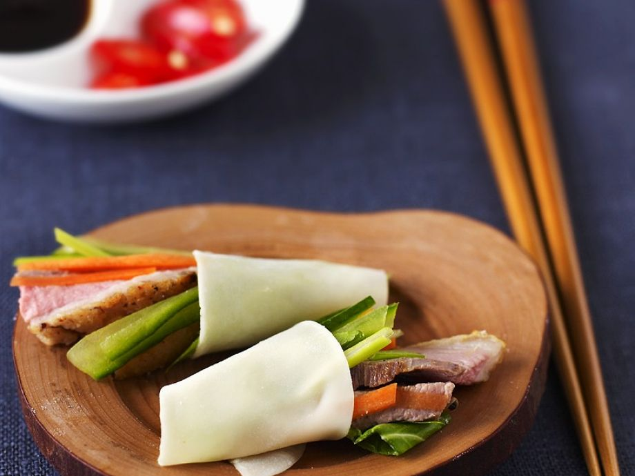 Duck and salad rolls