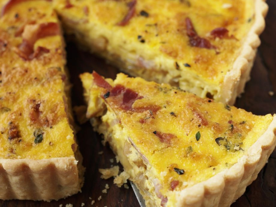Egg, bacon and cheese flan