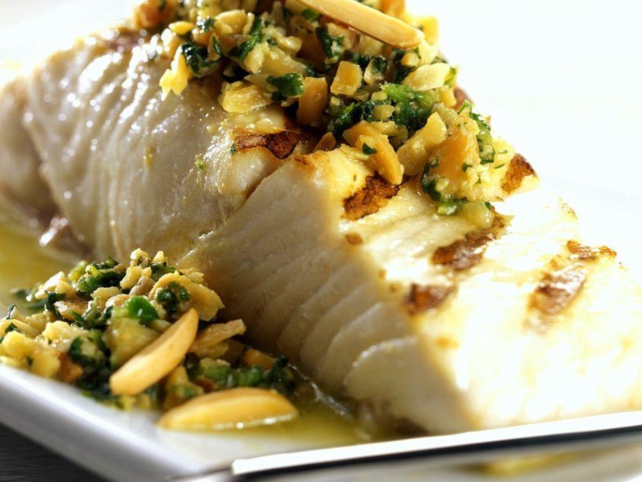 Mahi Mahi With Asparagus and Almond Sauce Recipe | Food ...