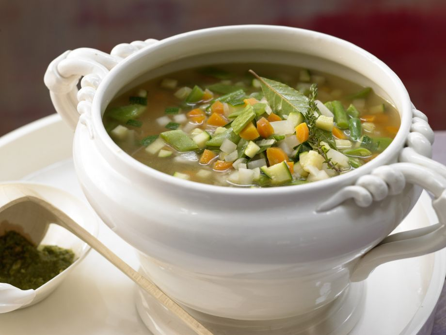 French Vegetable Soup - French Vegetable Soup - A bowl of crunchy vegetables for the figure conscious