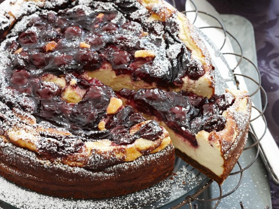 Gourmet soft cheese gateau with cherries