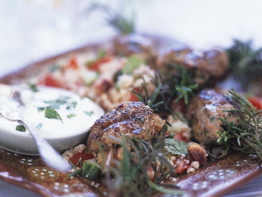 Grain salad with lamb kebab