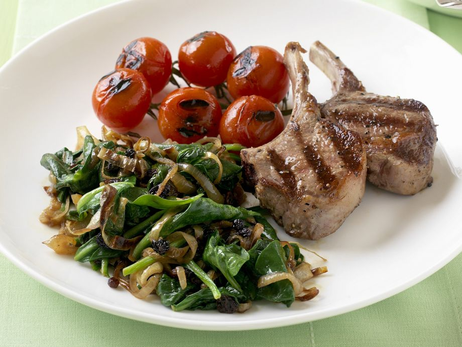 Grilled chops with sauteed veg