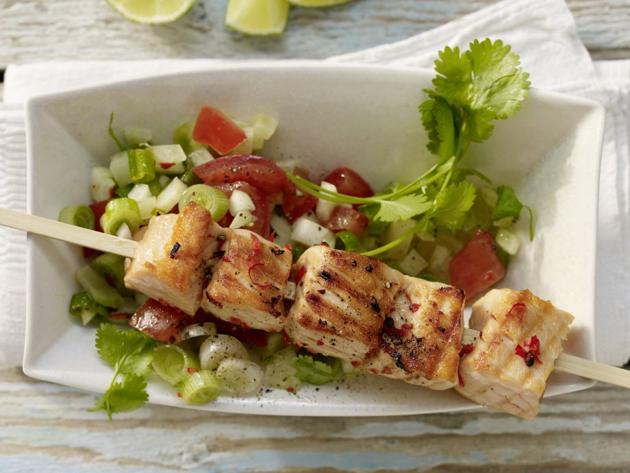 Grilled Salmon Skewers - Grilled Salmon Skewers - Salmon conquers new territory with Asian spiced vegetables