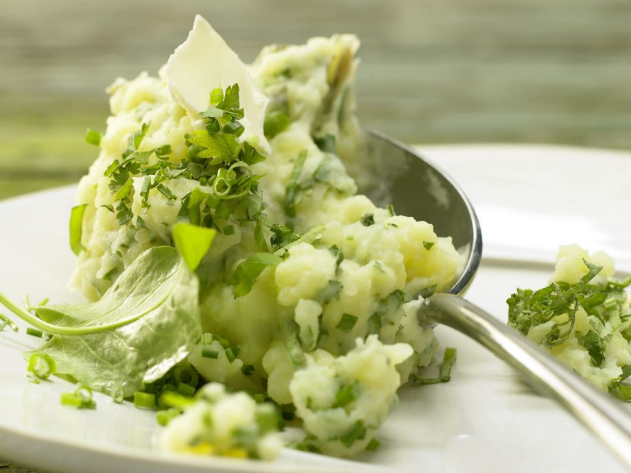 Smarter Herb Mashed Potatoes - Smarter Herb Mashed Potatoes - The smells and tastes of spring: mashed potatoes flecked with fresh herbs