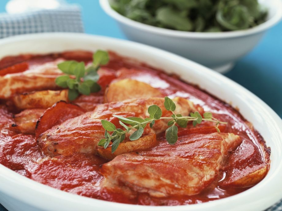 Herbed fish, potato and tomato casserole