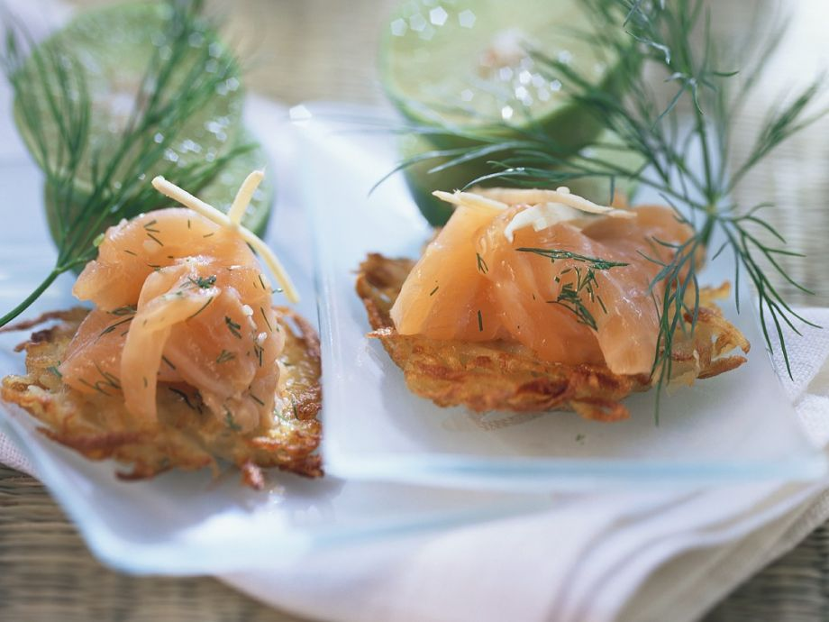 Honey-Sesame Marinated Salmon with Potato Rosti
