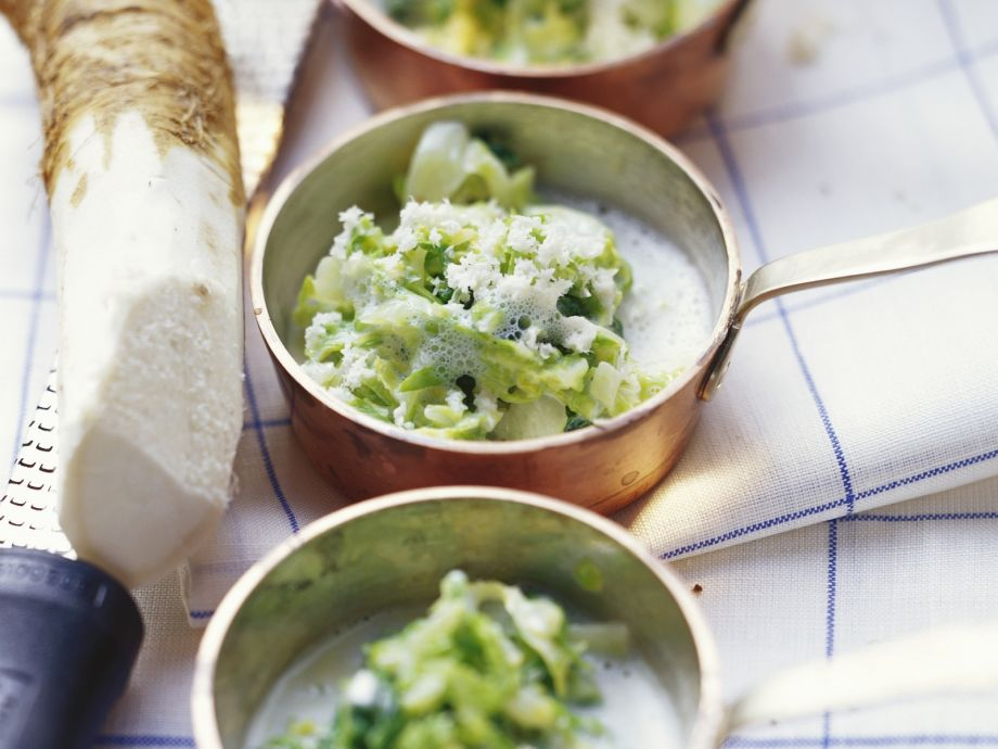 Kale and Savoy Cabbage with Horseradish