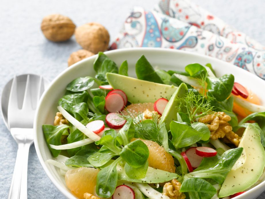 Mache Salad with Radishes, Avocado, Grapefruit and Fennel