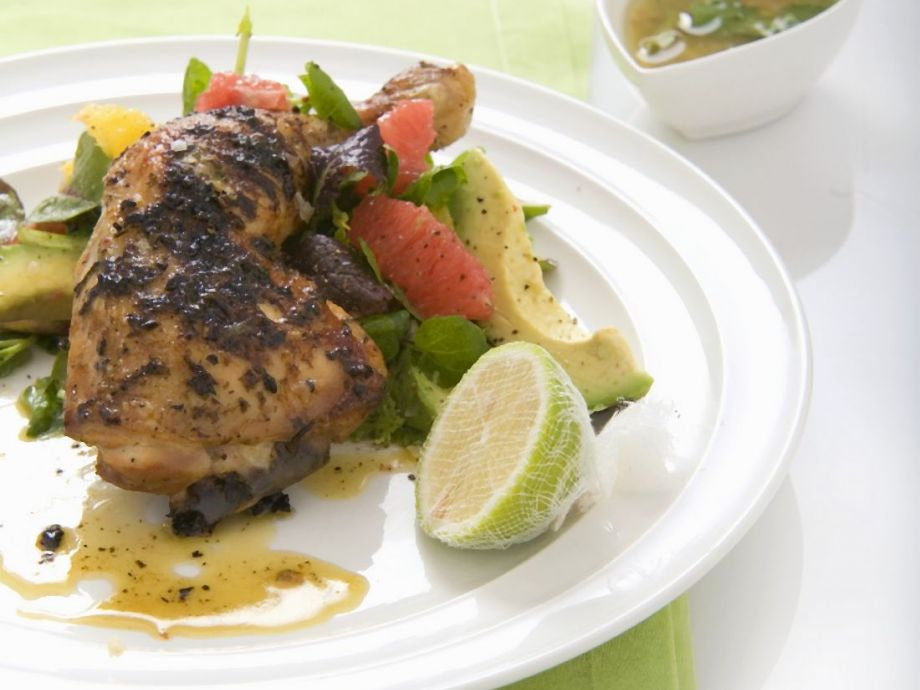 Margarita Chicken, Grapefruit and Avocado Salad and Tequila Dressing