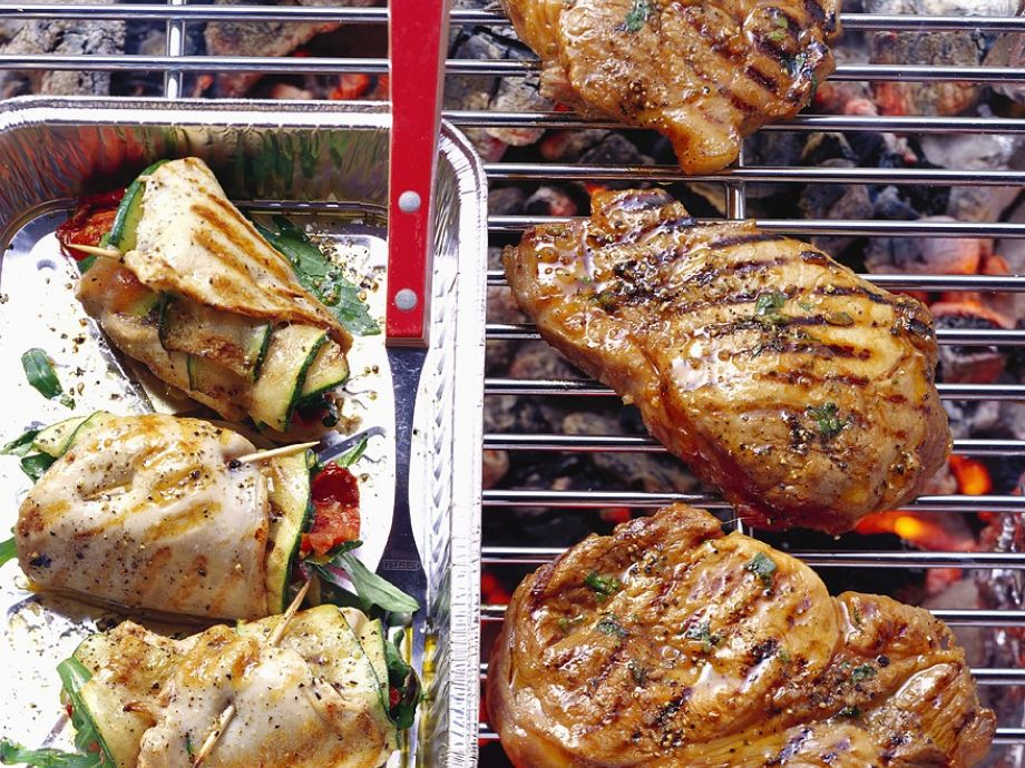 Marinated Steaks and Chicken Roulades