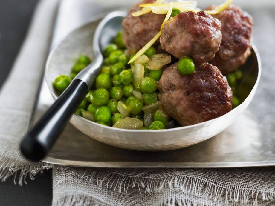 Meatballs with Sautéed Peas