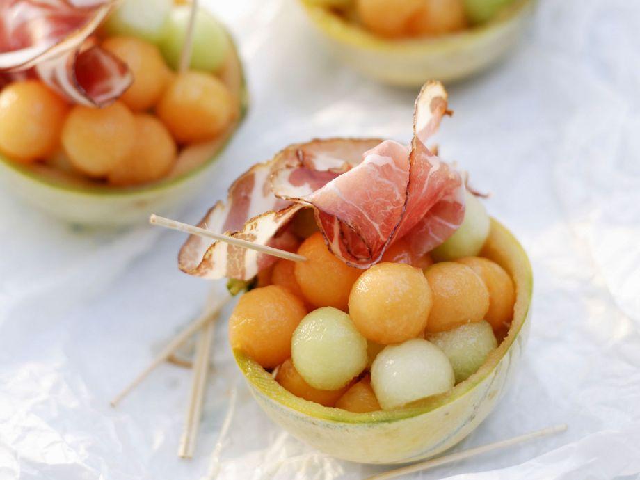 Mixed Melon balls with ham