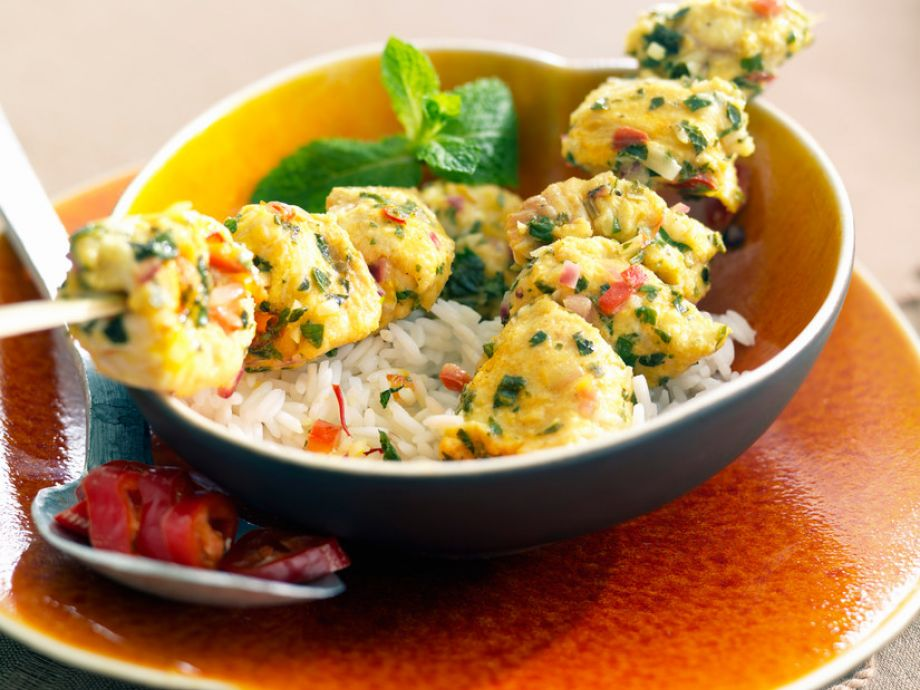 Monkfish Skewers with Turmeric and Mint