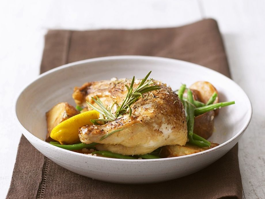 Oven Baked Chicken Legs With Potatoes And Green Beans Recipe