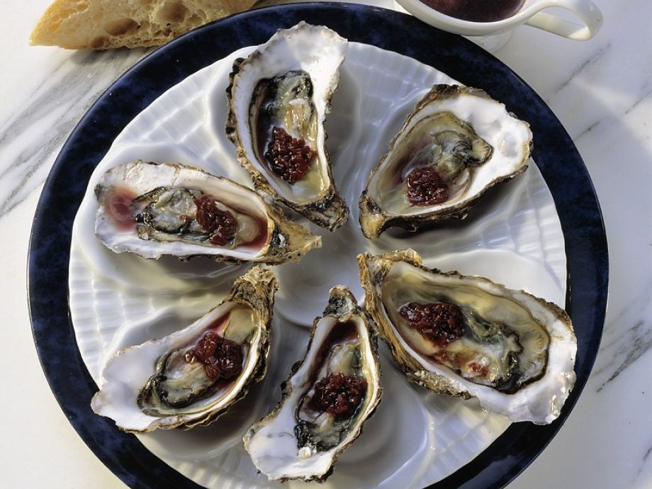 Oysters on the half shell with red wine sauce Recipe ...
