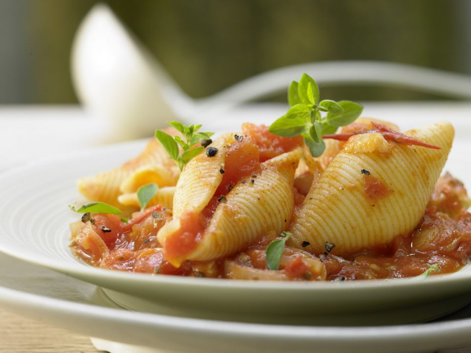 Pasta Shells in Tomato Sauce - Pasta Shells in Tomato Sauce - Broiled vegetables give this dish a subtlely sweet flavor