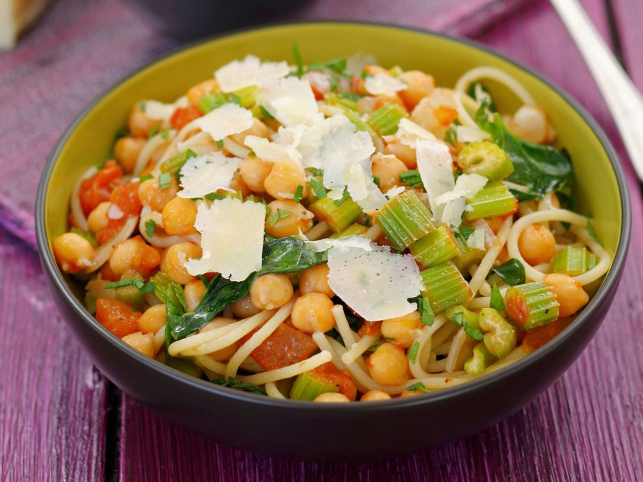 Pasta with Chickpeas, Vegetables and Parmesan