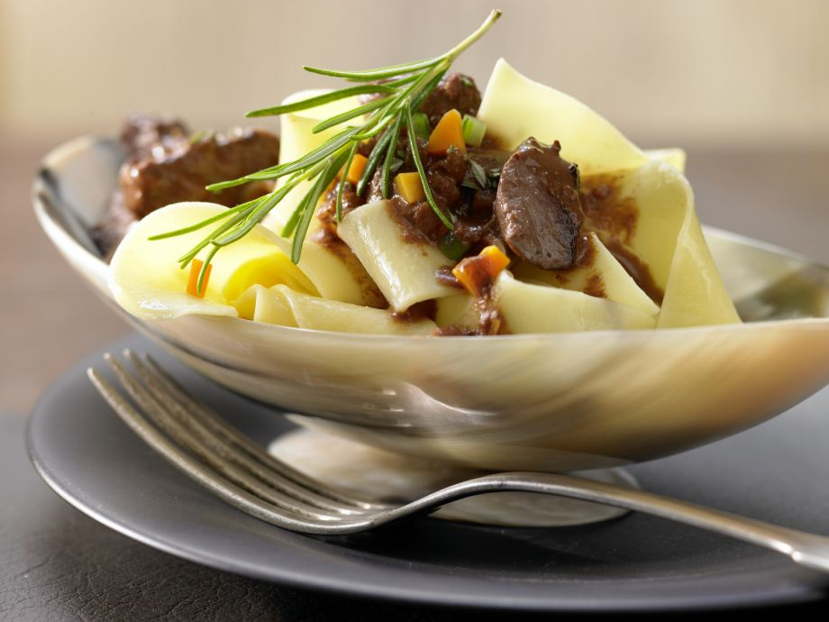 Pasta with Venison and Wine - Pasta with Venison and Wine - Gently braised venison in a rich, sophisticated sauce